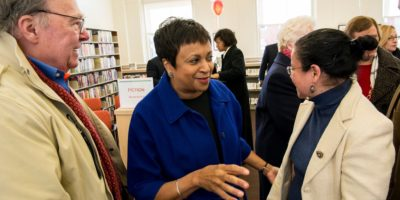 Hayden talks with patrons at the re-opening of the Canton library this month.Courtesy of the Enoch Pratt Free Library