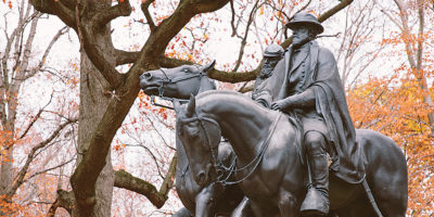 The Robert E. Lee-Stonewall Jackson statue in Wyman Dell across from The Baltimore Museum of Art.Photography by Brian Schneider