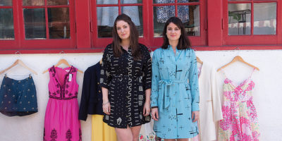 Chrissy, left, and Farah Fitzgerald outside their Annapolis shop Navette. Photography by David Colwell