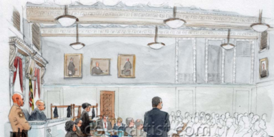 A courtroom sketch of jury selection in the trial of Officer William Porter, who is facing charges related to the death of Freddie Gray.Illustration by Arthur Lien