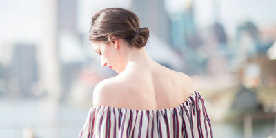 Collective Concepts flounce off-shoulder blouse at South Moon Under.Photography by David Colwell