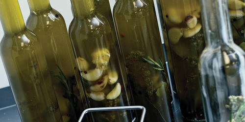 Dimitri's garlic-and-rosemary infused olive oil. Photography by David Colwell