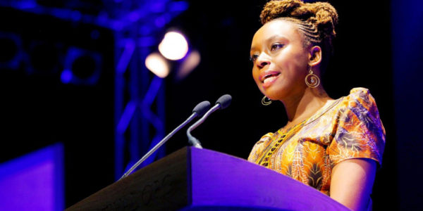 Chimamanda Ngozi Adichie speaks at the CityLit Festival on Saturday.Courtesy of Adichie.