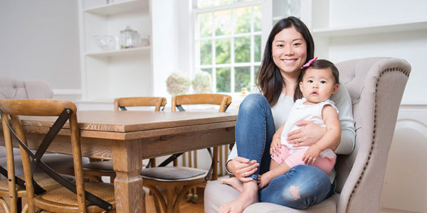Sue-Jean Chun at home in Stoneleigh with her daughter, Josephine.Photography by Christopher Myers