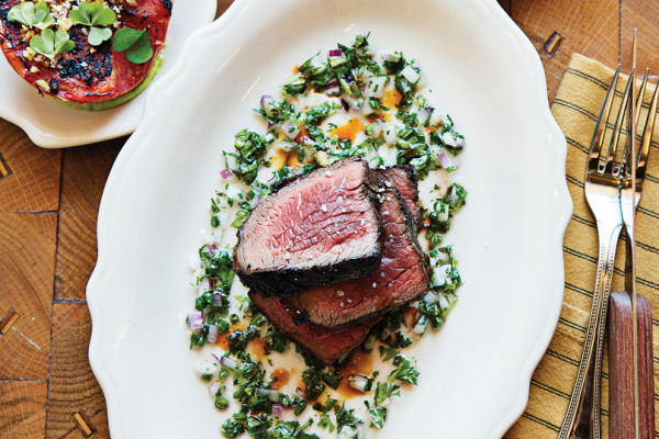Tomatoes, scallions, and culotte steak.Photography by Scott Suchman
