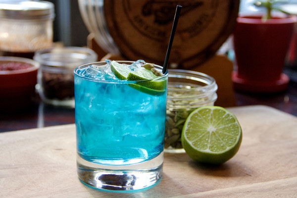 Light City's official cocktail, the Blue Hour. Courtesy of Becky Stavely