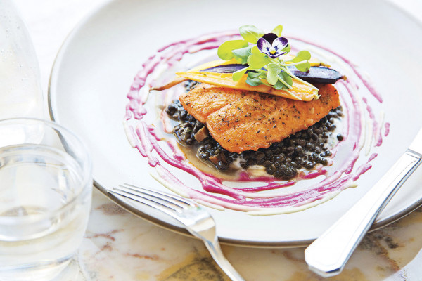 Artic char with lentils, tzatziki, and beet vinaigrette.Photography by Scott Suchman
