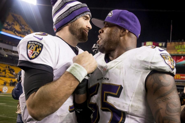 Joe Flacco and Terrell Suggs celebrate in Heinz Field after the Ravens beat the Steelers in the AFC wild-card game.Courtesy of the Baltimore Ravens