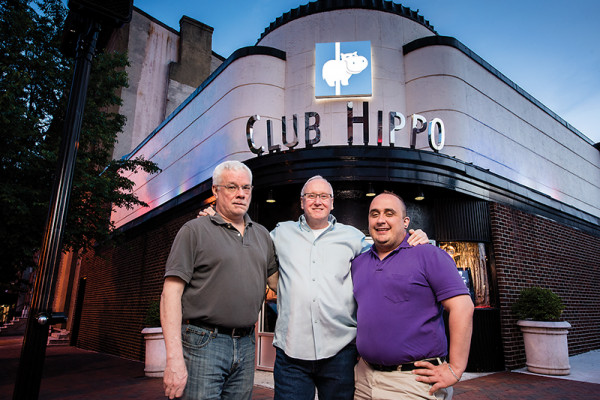 "From left: Gilbert Morrisette, Charles L. ""Chuck"" Bowers, and Paul Liller outside The Hippo.Photography by Mike Morgan"