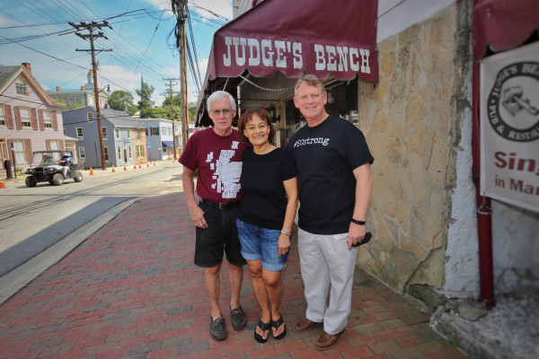 Judge's Bench owners Michael and Jane Johnson with County Executive Allan Kittleman at the grand re-opening of their Ellicott City pub.Courtesy of Judge's Bench