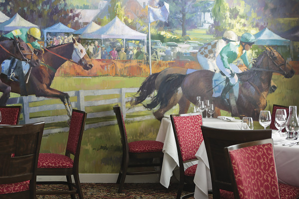 Hand-painted hunt-country mural at the Highland Inn.Photography by Ryan Lavine