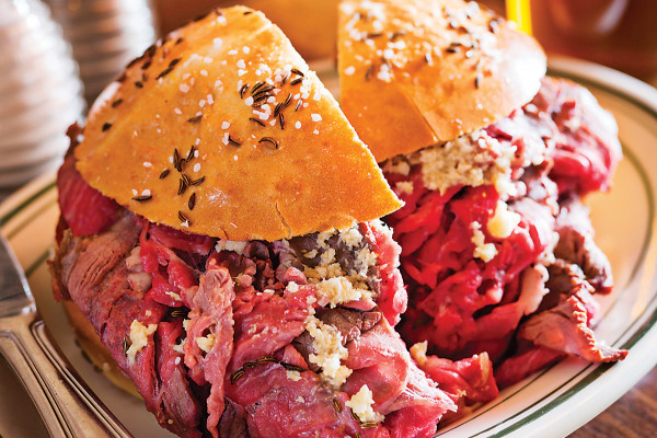 The beef on weck sandwich from New York comes to Baltimore.Photo by Scott Suchman