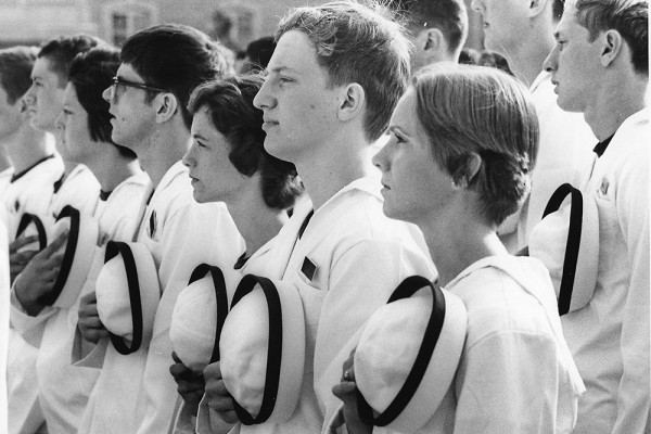 Incoming plebes of the first Naval Academy class to include women, in 1976.Courtesy of U.S. Naval Academy