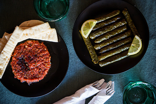 The tomato-pepper spread and grape leaves.Scott Suchman