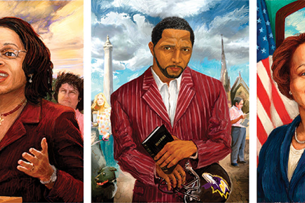 (left to right) William Brody, Sheila Dixon, Ray Lewis, Patricia Jessamy and Ben Cardin Illustrations by Frank Harris