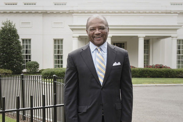 Broderick Johnson in front of the West Wing.Photography by David Colwell