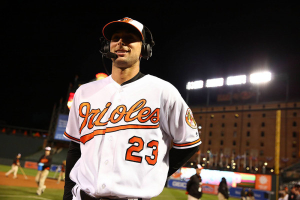 Joey Rickard being interviewed after the Orioles swept the Twins.Courtesy of the Baltimore Orioles