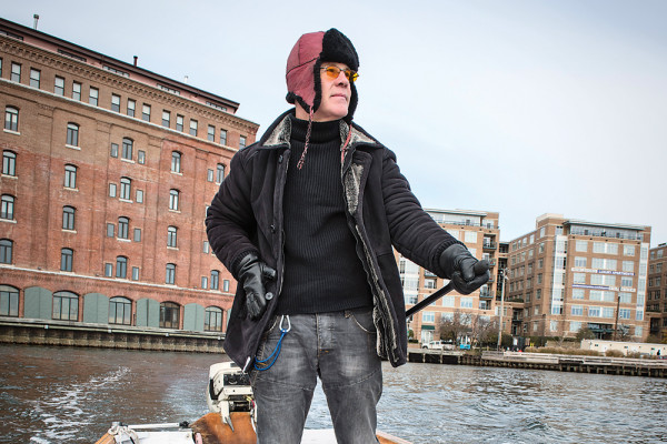 Thomas Dolby, on the water, near his Fells Point home.Photography by David Colwell