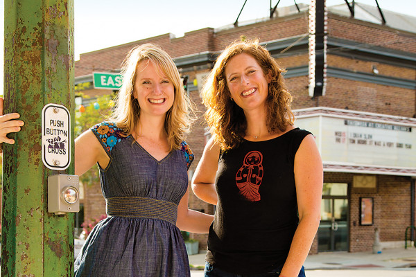 The Stoop co-founders Jessica Henkin, left, and Laura Wexler outside the Creative Alliance.Photography by Sean Scheidt