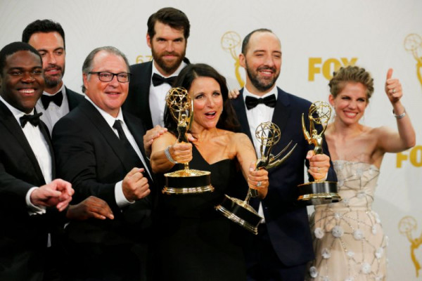 The cast of Veep celebrates their wins. yahoo.com