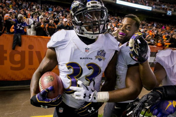 Will Hill celebrates after his game-winning touchdown in Cleveland.Courtesy of the Baltimore Ravens