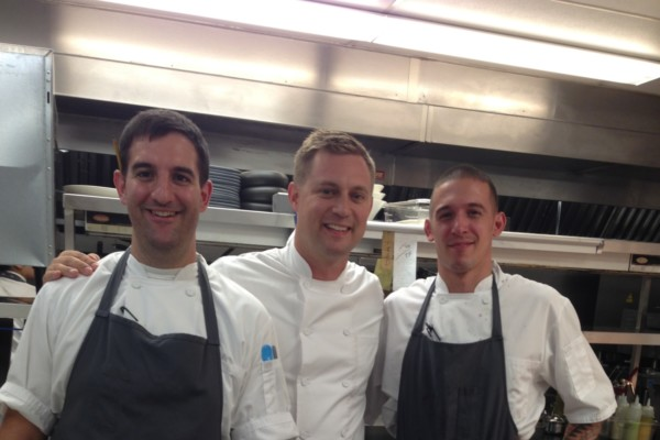Aggio kitchen crew: chef de cuisine Dan Izzo, executive chef Bryan Voltaggio, and sous chef Vinnie Cortese.Photo by Jane Marion