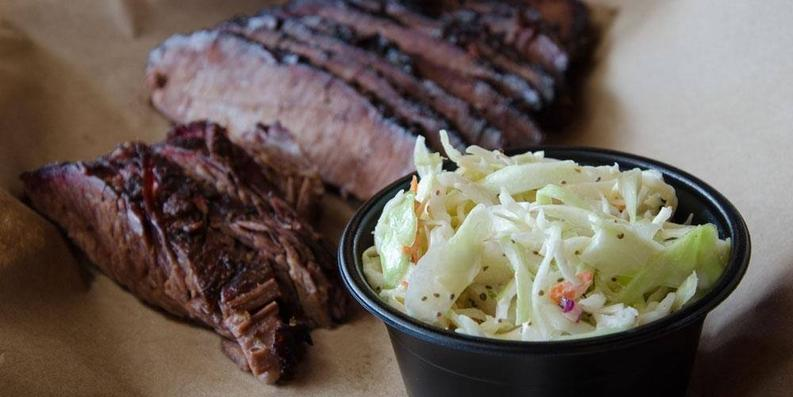 Beef brisket with cole slaw-Photo by Mission BBQ