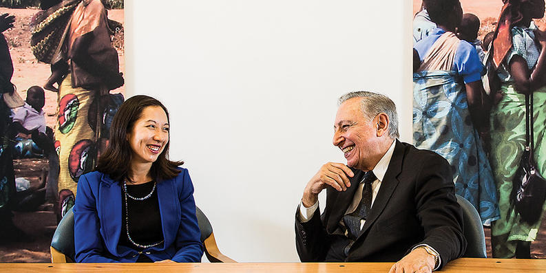 Dr. Leana Wen and Dr. Robert Gallo at the Institute of Human Virology in July.Photography by Justin Tsucalas