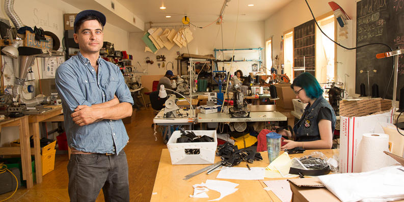Jeremiah Jones of SewLab in his Hampden factory. Photography by Sean Scheidt