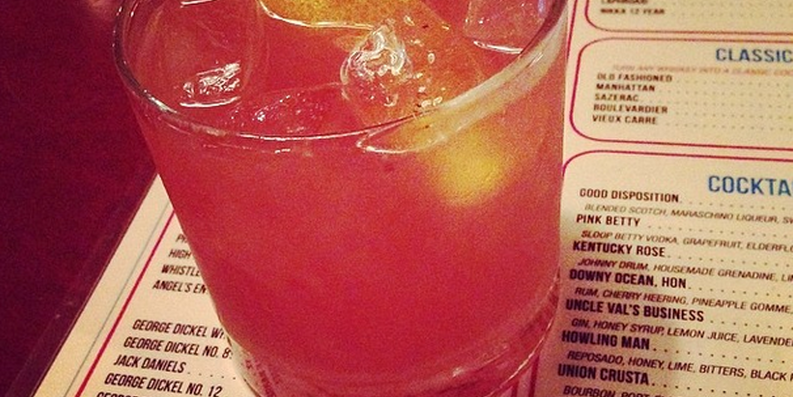 Blue Pit BBQ's strawberry-rhubarb Old Fashioned.Photo by Jess Mayhugh