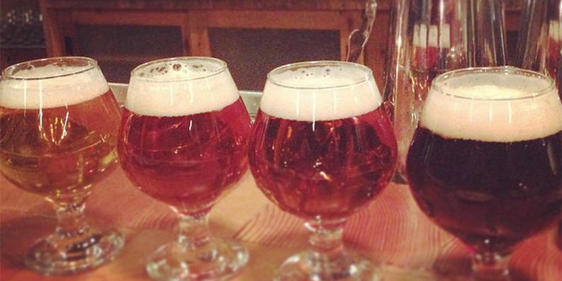 A flight of local beer at Parts & Labor.Photography by Jess Mayhugh