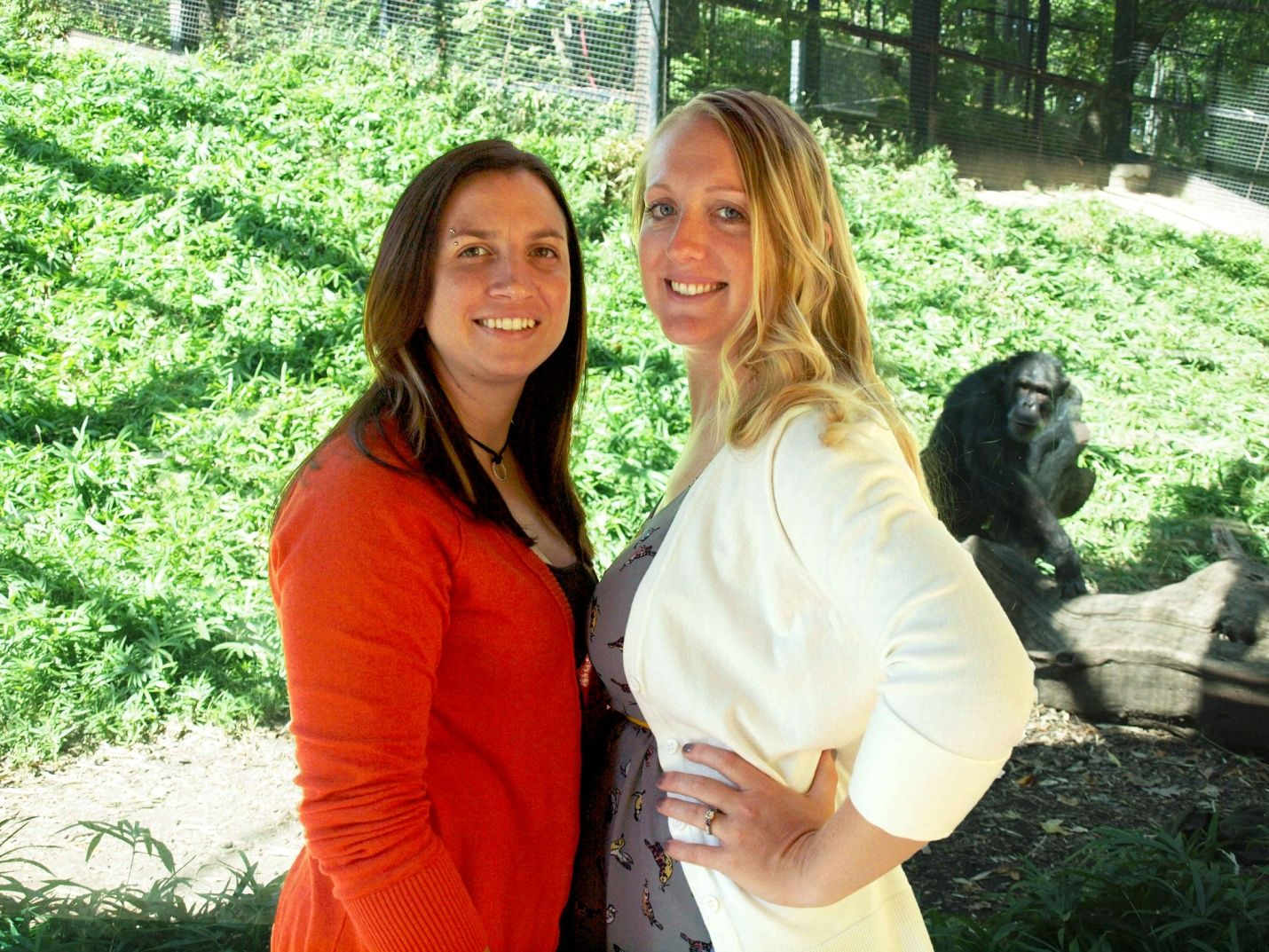 Kristine and I with Louie, one of the chimpanzees she cares for at the zoo.